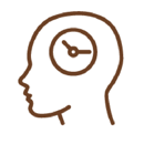 Line Drawing of a face profile with a clock for a brain.