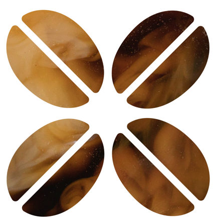 A bean sliced and arranged as a matrix.
